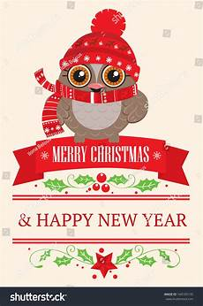 merry christmas and new year postcard cute owl wearing a warm cap and a scarf the