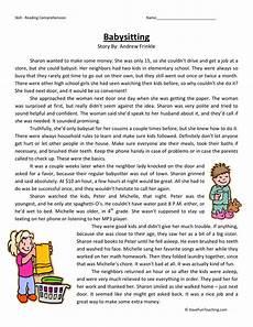 reading comprehension worksheet babysitting