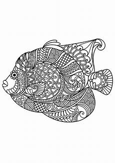 Ausmalbilder Erwachsene Fische Free Book Fish Fishes Coloring Pages