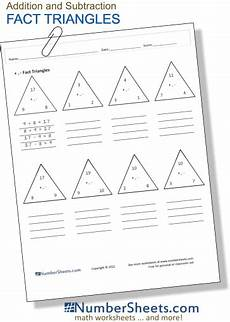 fact triangles reinforce basic addition and subtraction memorization and introduce the