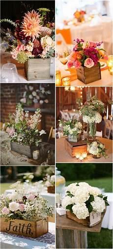 20 ideas de cajas de madera como bases para centros de mesa cestres bodasrusticas wedding