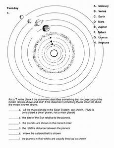 solar system learning activities worksheet