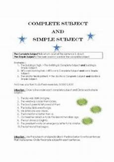 english worksheets the complete subject and simple subject
