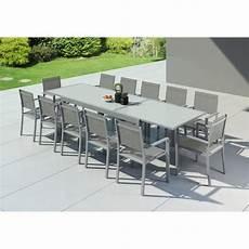 table jardin extensible alu hara table de jardin extensible aluminium 200 320cm 12 fauteuils textil 232 ne argent 233 e