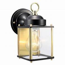 design house coach polished brass and black outdoor wall downlight 502658 the home depot