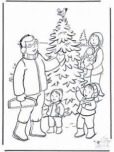 familie in der schnee ausmalbilder weihnachten
