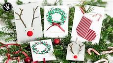 Weihnachtskarten Selbst Basteln - diy 3 ideen weihnachtskarten selber machen