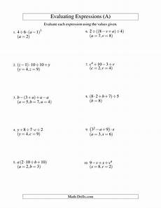 algebra worksheets expressions 8386 evaluating four step algebraic expressions with three variables a