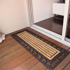 Black Rubber Door Mats Outside by Doormat 45x120cm Scroll Coir Heavy Duty Door