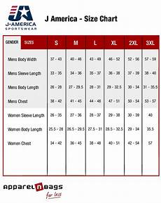 Xl Jacket Size Chart J America Size Chart Apparelnbags Com