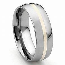 hermes 8mm tungsten carbide 14k gold inlay dome wedding band