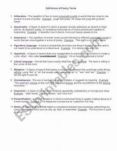 basic poetry worksheets 25244 basic definitions of poetry esl worksheet by hollyeknox