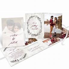 sketched in love ribbon booklet wedding invitation pear tree