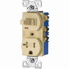 eaton 15 120 volt 5 15 3 wire combination receptacle and toggle switch ivory tr291v the