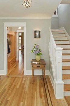 lovely entry with light grey walls white trim medium hardwood floor coverings