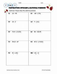 subtracting integers rational numbers worksheet by april langelett