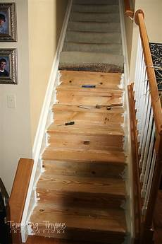 stair project begins removing the carpet and prepping the