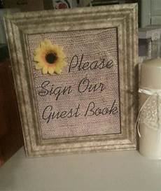 burlap wedding vintage sunflower decor sign our guestbook wedding reception centerpieces