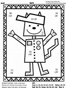 two digit subtraction with regrouping coloring worksheets 10622 digit addition subtraction with regrouping color by code