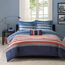 red white blue twin or full queen comforter set teen boys flag stripes bedding ebay