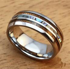 men s 8mm titanium wedding ring with double pearl shell inlay burnham watches