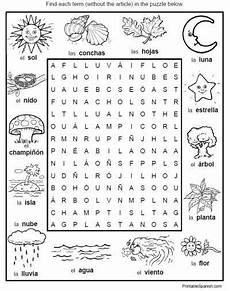 spanish word search puzzle worksheet environment nature