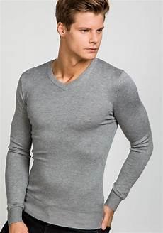 bolf herren pullover v ausschnitt grau 6002