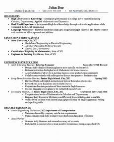 resume education for high schol high school teacher resume exle math and science