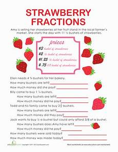 fraction word problems strawberry stand worksheet education com