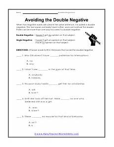 double negative worksheets double negative