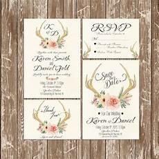 printable wedding invitation suite deer antler pink floral invitation kit deer antler wedding invitation rustic