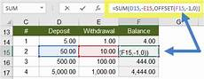 create a running balance in excel that allows you to