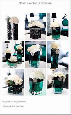 black teal lace pearls centerpiece wedding