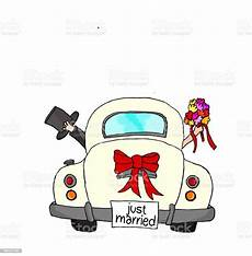 just married in pink car stock illustration