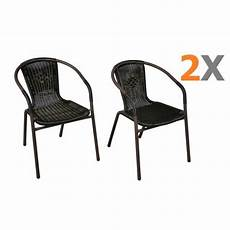 2 x chaises bistro poly rotin noir empilable achat