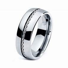 mens tungsten carbide wedding band ring 8mm 5 15 sizes braided 925 sterling silver inlay high