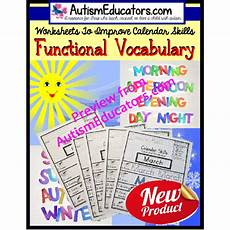 life skills functional calendar vocabulary worksheets with data for autism and special education