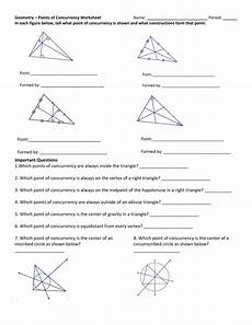 geometry points of concurrency worksheet answers geometry fall 2015 lesson 021 019 mp1 worksheet triangle centers