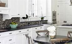 Backsplash For Black And White Kitchen Black Granite White Cabinet Glass Tile Idea Backsplash