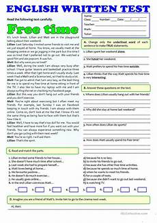 free time activities test a1 a2 english esl worksheets