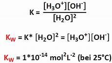 ionenprodukt des wassers anorganische chemie