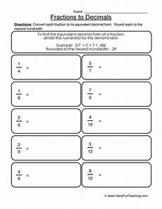 worksheet decimals to fractions 7304 fractions into decimals worksheet convert decimals fractions 2 instant worksheetsgrade 4 maths