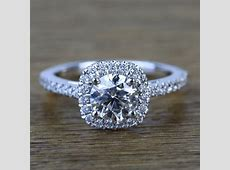 0.90 Carat Square Halo Round Diamond Engagement Ring