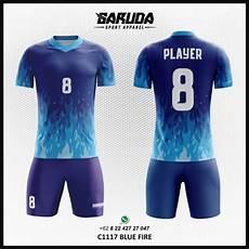 Desain Kaos Futsal Printing Blue Gambar Api Warna