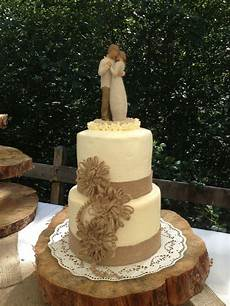 rustic elegance wedding cake with burlap lace and twine