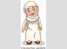 Muslim girl. Close up muslim girl standing clip art vector