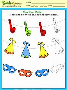 trace and color the pattern that comes next worksheet turtle diary