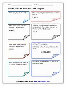 mixed review place value rounding and integers