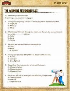 Wannabe Astronomer Quiz Printable 7th Grade Worksheets Sod