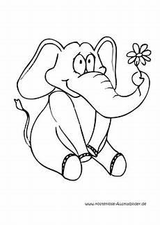 ausmalbilder elefant mit blume tiere zum ausmalen